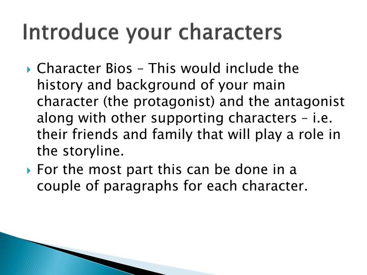 Introduce your characters