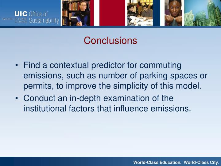 Find a contextual predictor for commuting emissions, such as number of parking spaces or permits, to improve the simplicity of this model.