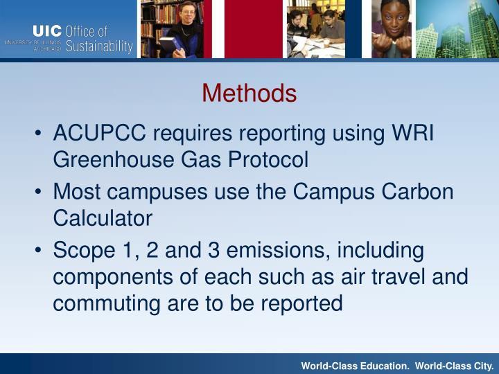 ACUPCC requires reporting using