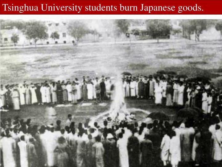 Tsinghua University students burn Japanese goods.