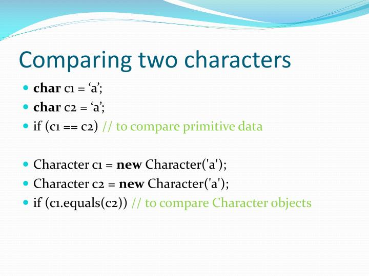 Comparing two characters