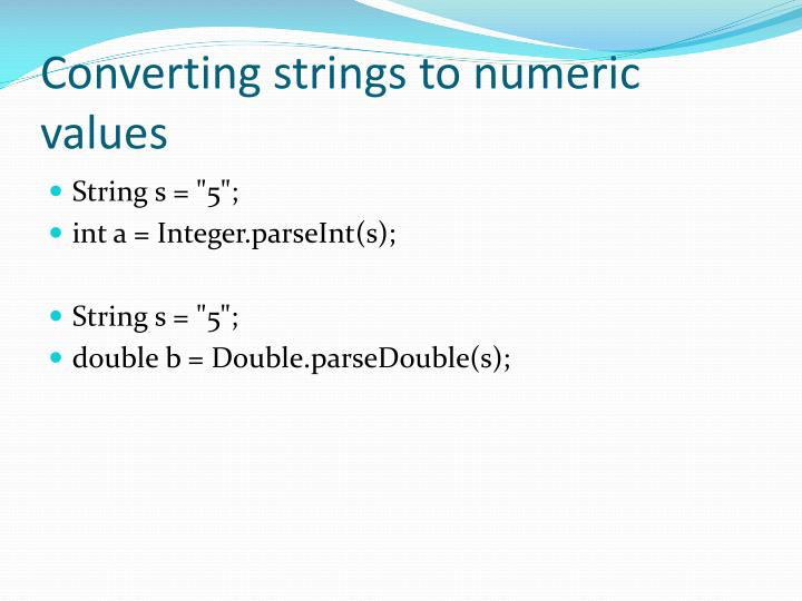Converting strings to numeric values