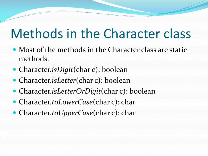 Methods in the Character class