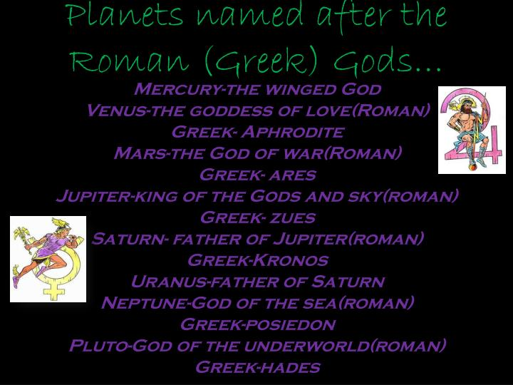 Planets named after the Roman (Greek) Gods…