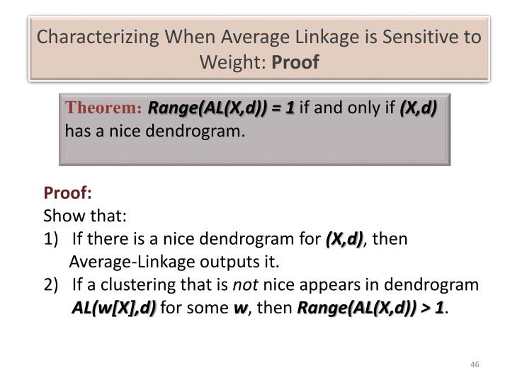 Characterizing When Average Linkage is Sensitive to Weight: