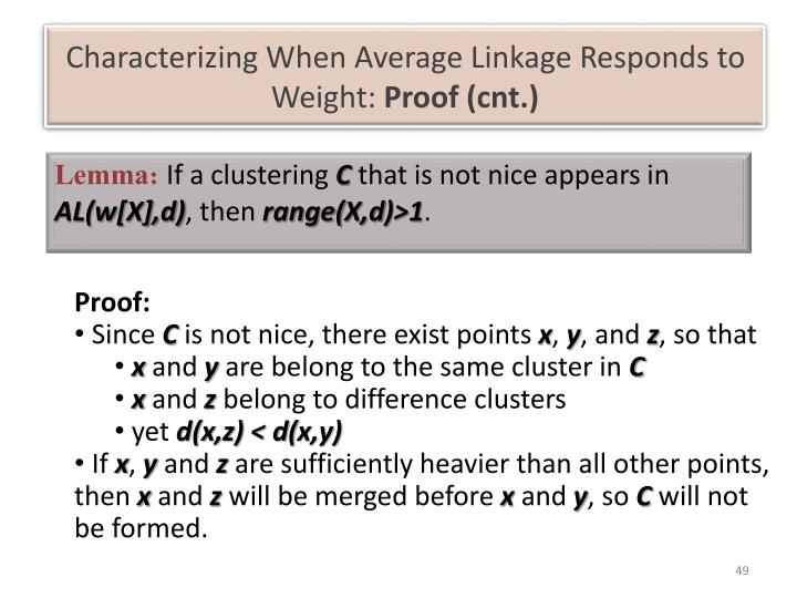 Characterizing When Average Linkage Responds to Weight: