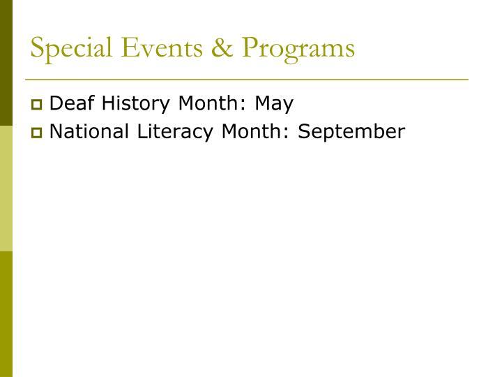 Special Events & Programs