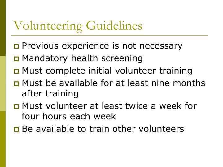 Volunteering Guidelines