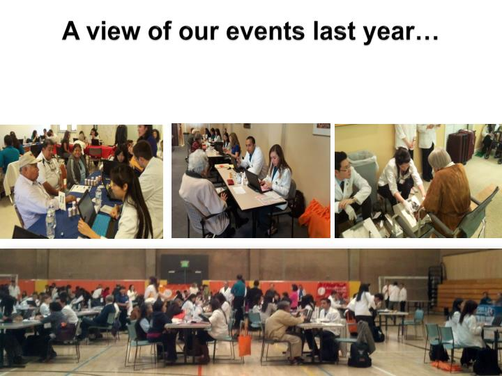 A view of our events last year…