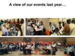 a view of our events last year