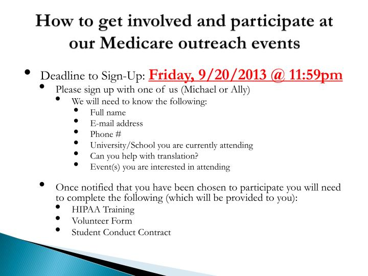 How to get involved and participate at our Medicare outreach events