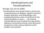 interdisciplinarity and transdisciplinarity