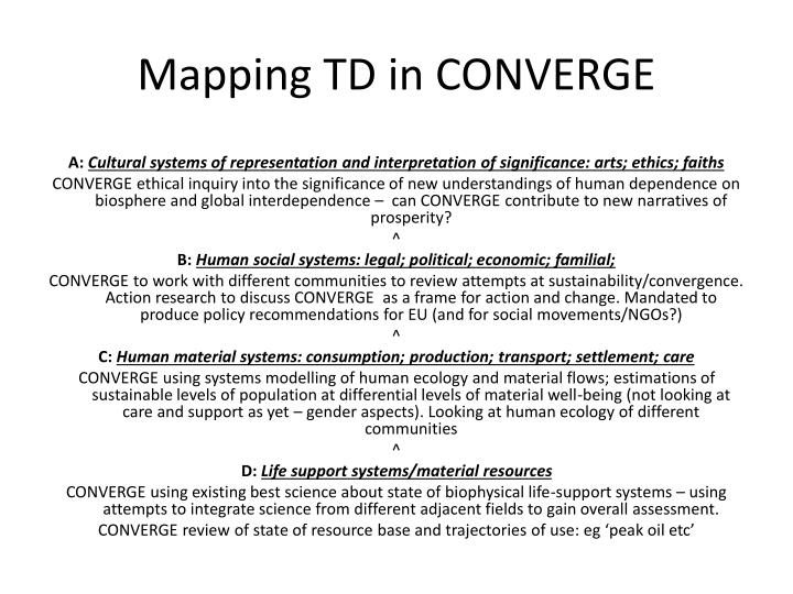 Mapping TD in CONVERGE