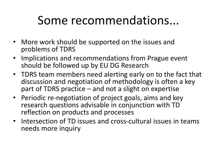 Some recommendations...
