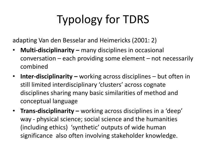 Typology for TDRS