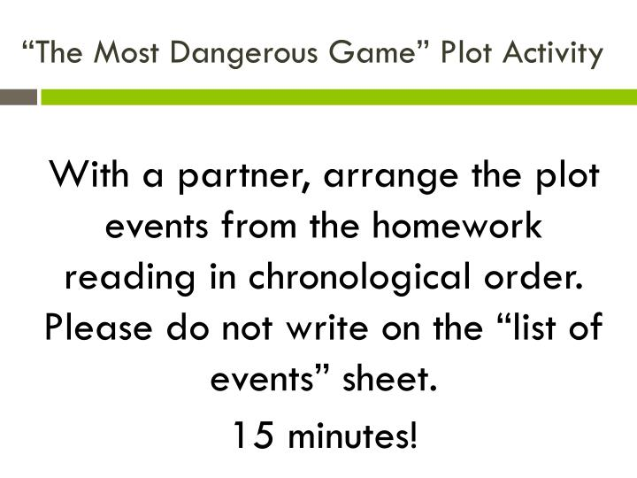 """The Most Dangerous Game"" Plot Activity"