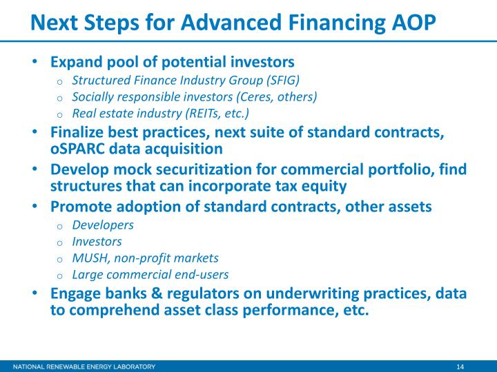 Next Steps for Advanced Financing AOP