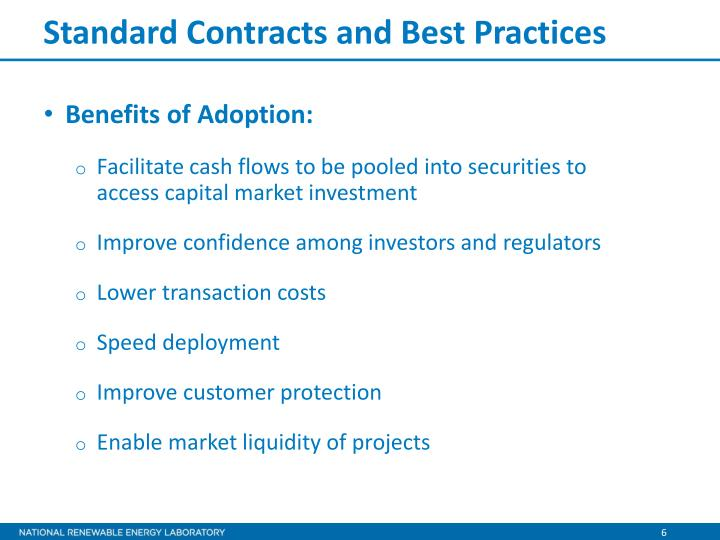 Standard Contracts and Best Practices