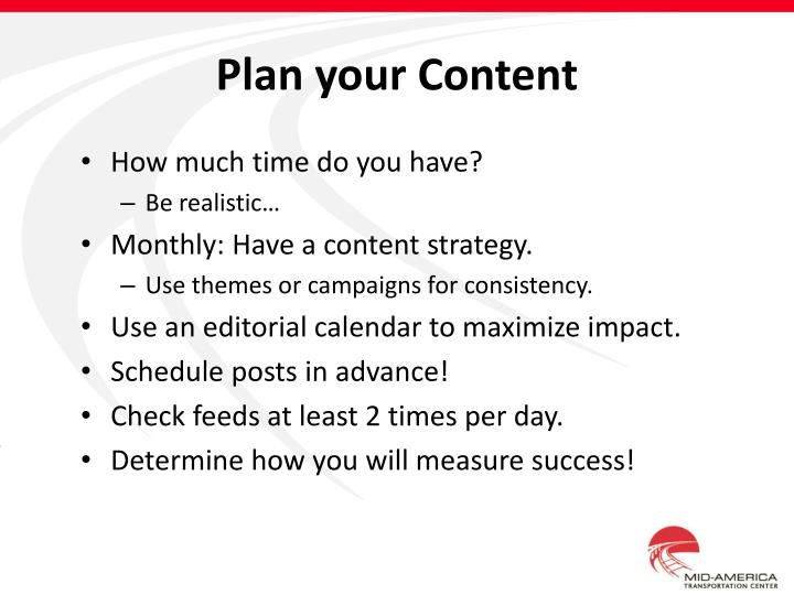 Plan your Content
