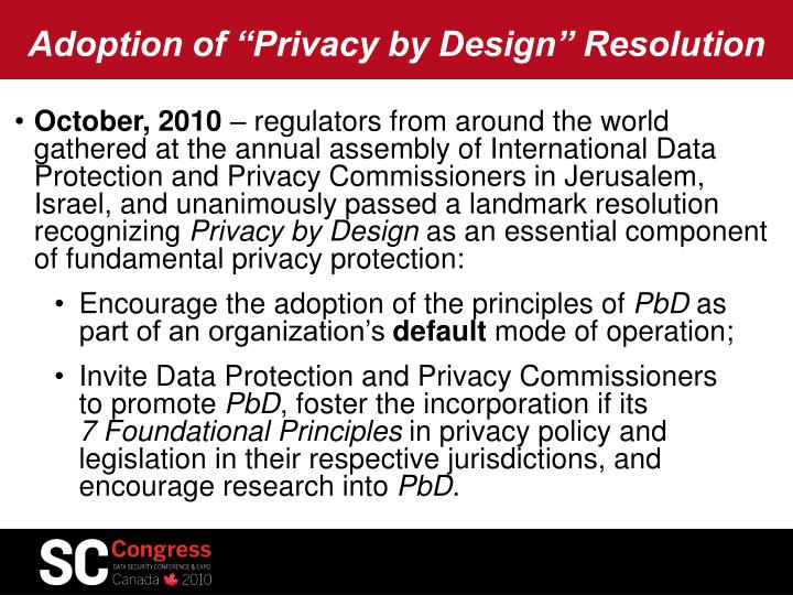 """Adoption of """"Privacy by Design"""" Resolution"""
