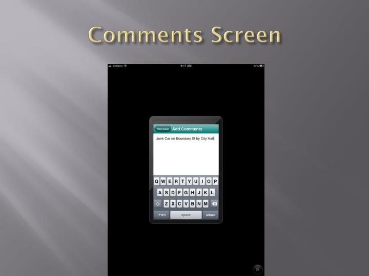 Comments Screen