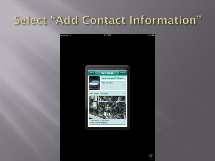 "Select ""Add Contact Information"""