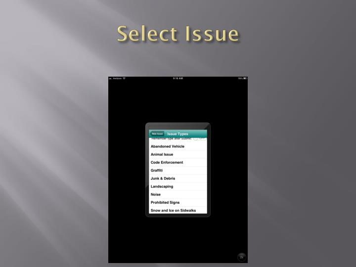 Select Issue