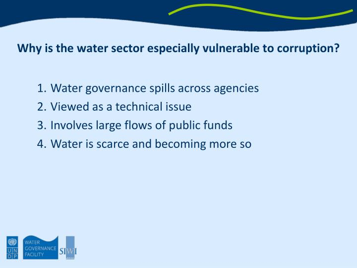 Why is the water sector especially vulnerable to corruption?