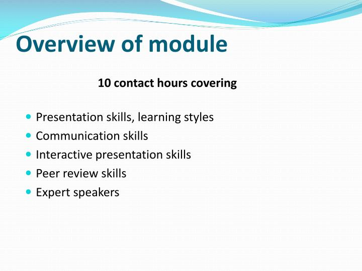 Overview of module