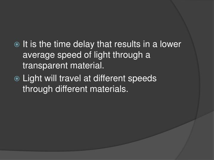 It is the time delay that results in a lower average speed of light through a transparent material.
