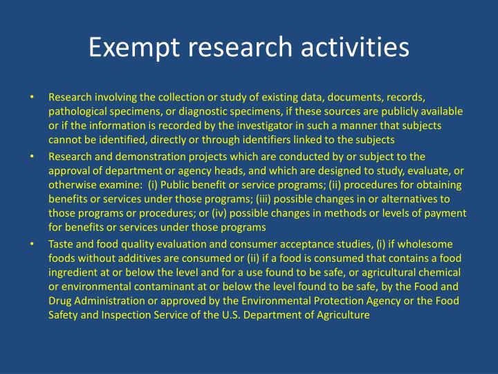 Exempt research activities