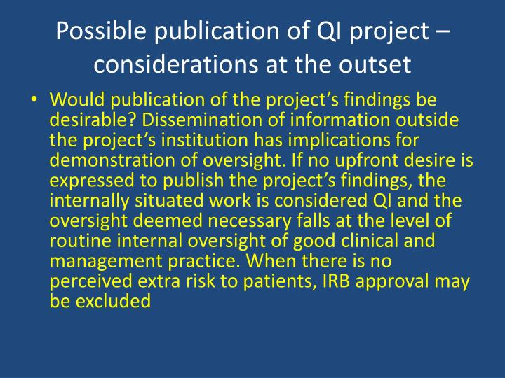 Possible publication of QI project – considerations at the outset