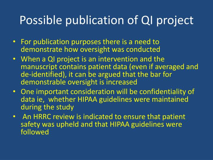 Possible publication of QI