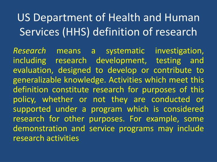 US Department of Health and Human Services (HHS) definition of research