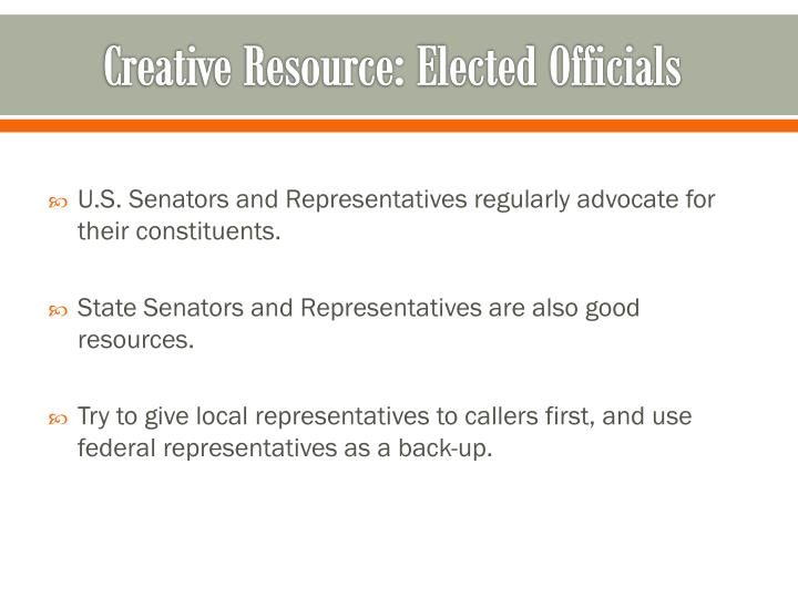 Creative Resource: Elected Officials