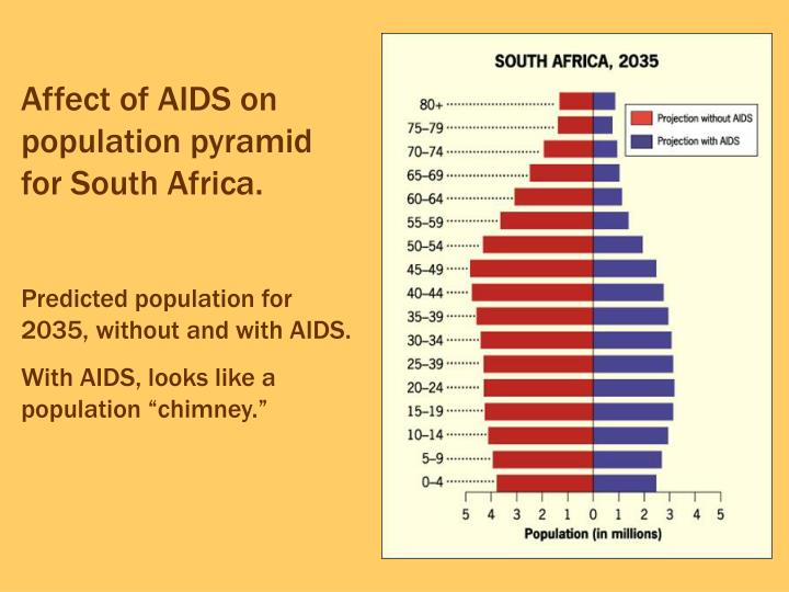 Affect of AIDS on population pyramid for South Africa.