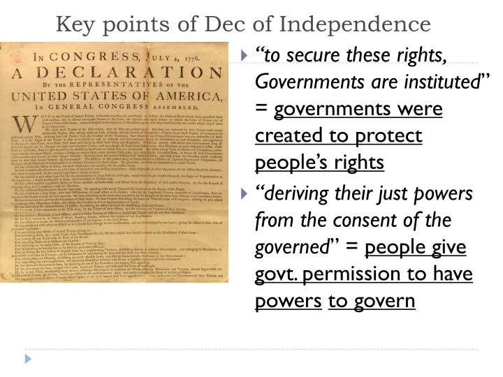 Key points of dec of independence
