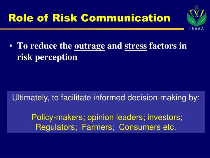 Role of Risk Communication