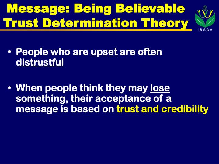 Message: Being Believable