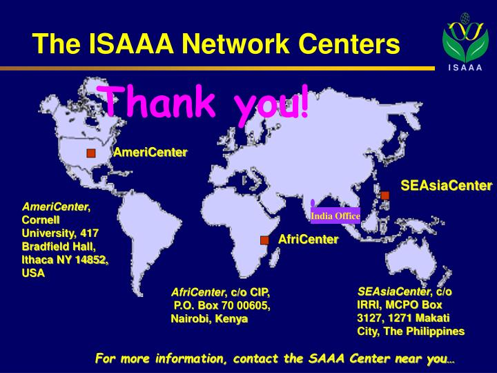 The ISAAA Network Centers
