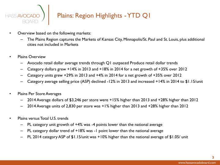 Plains: Region Highlights - YTD Q1