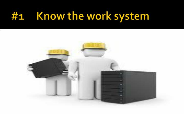 #1     Know the work system