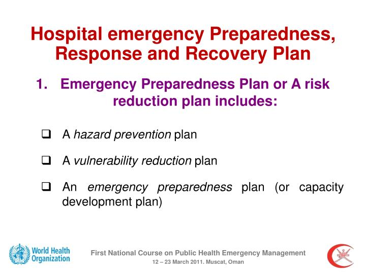 Hospital emergency Preparedness, Response and Recovery Plan