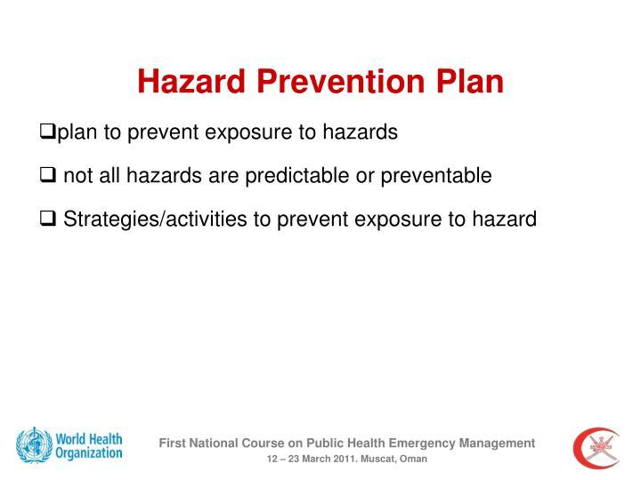 Hazard Prevention Plan