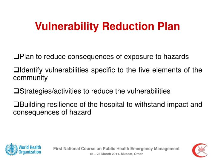 Vulnerability Reduction Plan
