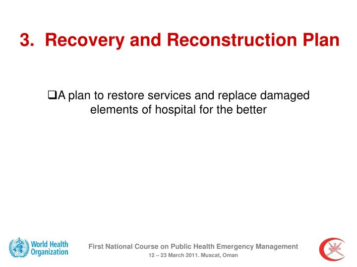 3.  Recovery and Reconstruction Plan