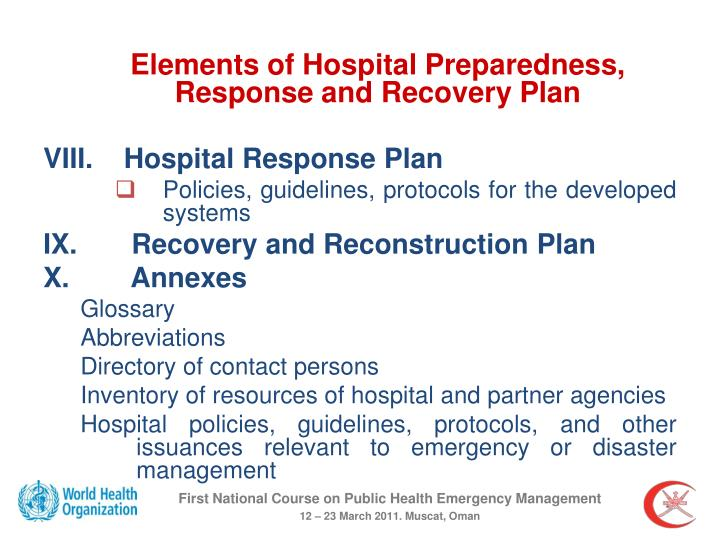 Elements of Hospital Preparedness, Response and Recovery Plan