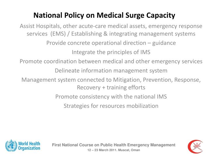 National Policy on Medical Surge Capacity
