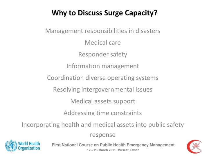Why to Discuss Surge Capacity?