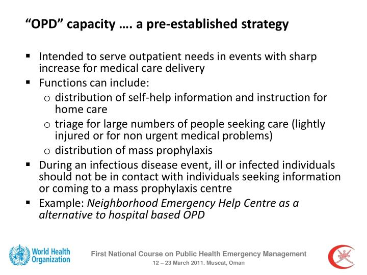 """""""OPD"""" capacity …. a pre-established strategy"""